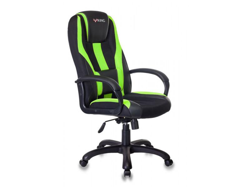 Кресло игровое Бюрократ VIKING-9 черный/зеленый