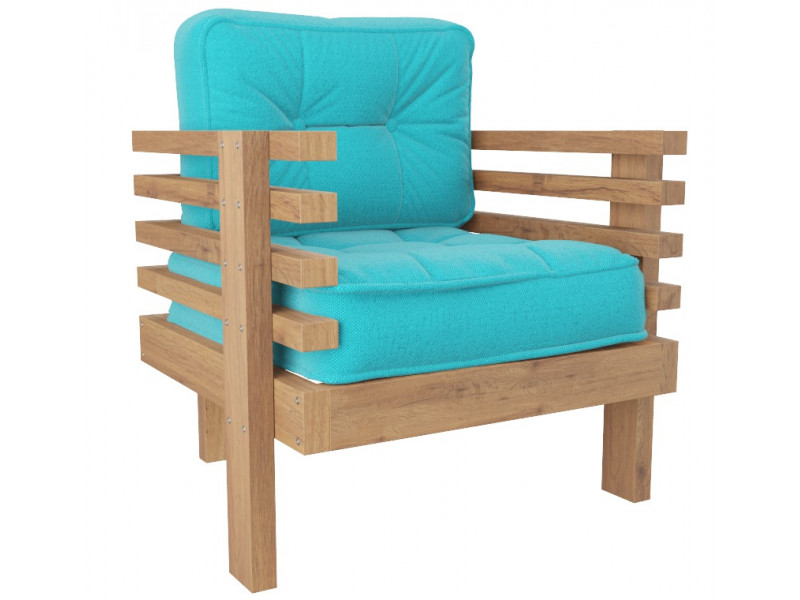 Кресло Стоун голубой сосна