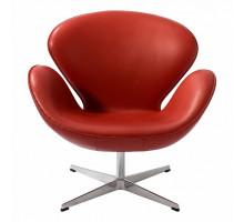 Кресло Swan (Arne Jacobsen) A062 красная экокожа