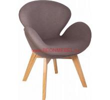 Кресло Swan Wood legs (Arne Jacobsen) A062 серый кашемир