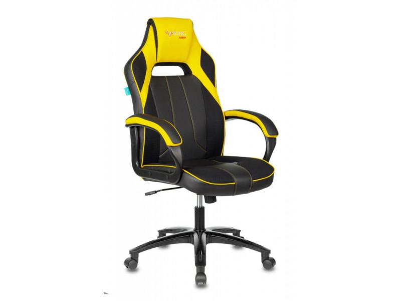 Кресло игровое Бюрократ VIKING 2 AERO черный/желтый искусст.кожа/ткань