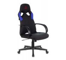 Кресло игровое Бюрократ ZOMBIE RUNNER черный/синий ткань/экокожа