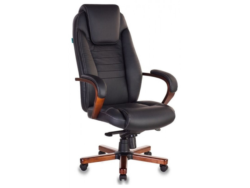 Кресло руководителя Бюрократ T-9923MAHOGANY/BLACK черный кожа